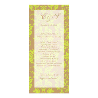 Brown and Lime Green Damask Wedding Programs Full Color Rack Card