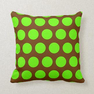 Brown and Lime Green Polka Dots Throw Cushion