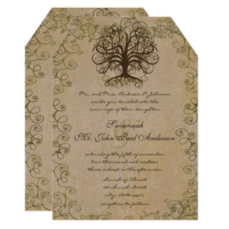 Brown and Moss Green Swirl Tree Vintage Damask Card