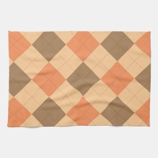 Brown and orange argyle pattern kitchen towels