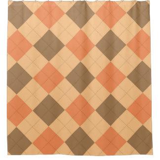 Brown and orange argyle pattern shower curtain
