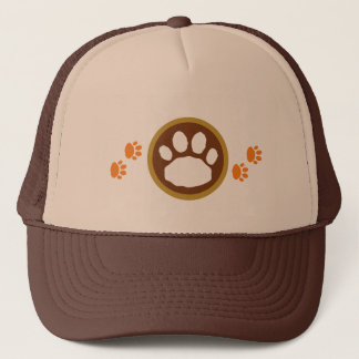 Brown and Orange Thanksgiving Paw Prints Trucker Hat