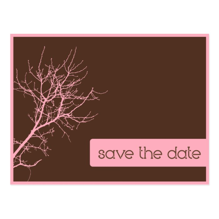 Brown and Pink Autumn Branches Save the Date Postcard
