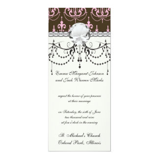 brown and pink chandelier french damask custom invites