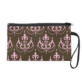 brown and pink chandelier french damask wristlet