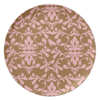 Brown and Pink Damask Plates