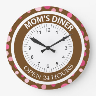Brown and Pink Dots Mom's Diner Large Clock