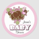 Brown and Pink Elephant   Baby Shower Round Sticker