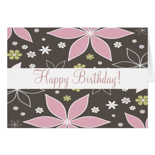 "Brown and Pink Flowered ""Birthday Card"""