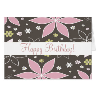 """Brown and Pink Flowered """"Birthday Card"""" Greeting Card"""