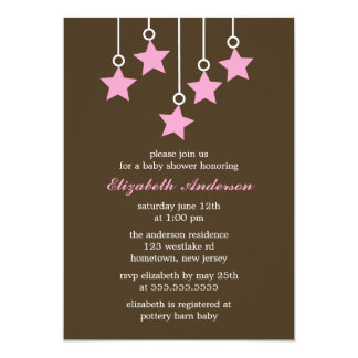 Brown and Pink Mobile Baby Shower 13 Cm X 18 Cm Invitation Card