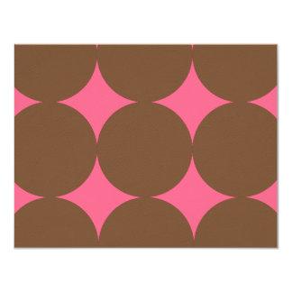 "Brown and Pink Modern Polka Dots Weddin RSVP card 4.25"" X 5.5"" Invitation Card"