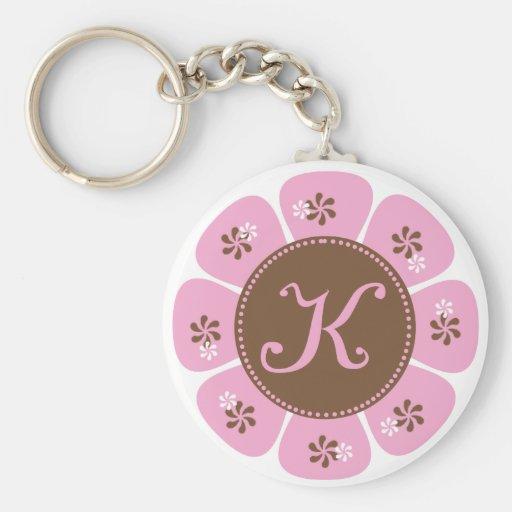 Brown and Pink Monogram K Keychains