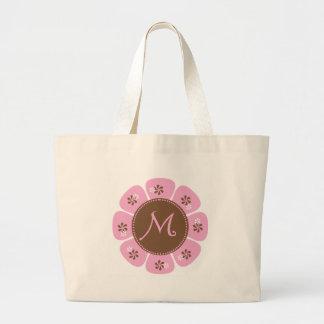 Brown and Pink Monogram M Jumbo Tote Bag
