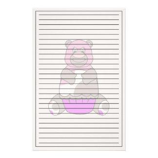 Brown And Pink Polkadot Bear Custom Stationery