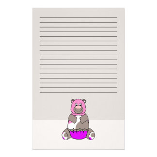 Brown And Pink Polkadot Bear Personalized Stationery