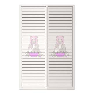 Brown And Pink Polkadot Bear Stationery Paper