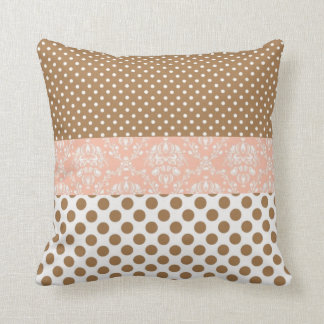 Brown and Pink Throw Pillow