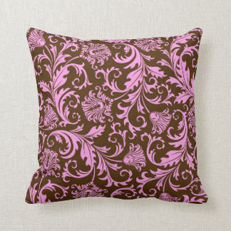 Brown And Pink Vintage Floral Damasks Throw Pillow