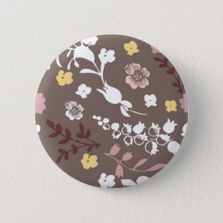 Brown and Pink Vintage Romantic Floral Pattern 6 Cm Round Badge