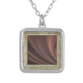 Brown And Pink Waves Silver Plated Necklace