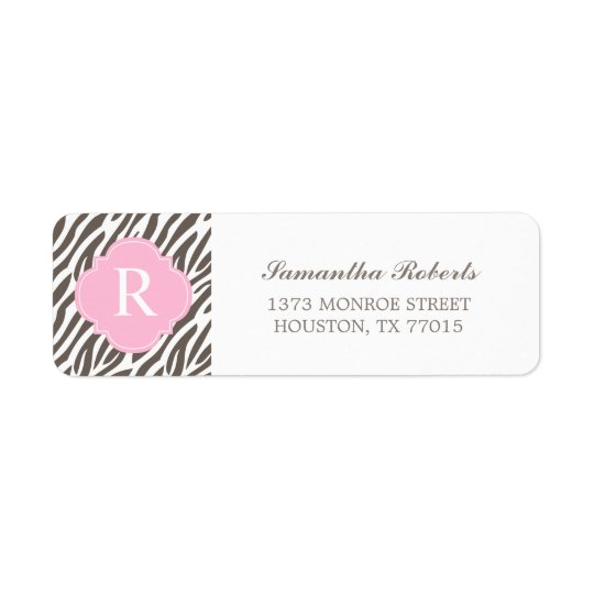 Brown and Pink Zebra Stripes Monogram Return Address Label