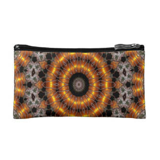 Brown And Purple Abstract Concentric Pattern Makeup Bag