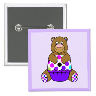 Brown And Purple Polkadot Bear 15 Cm Square Badge