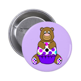 Brown And Purple Polkadot Bear 6 Cm Round Badge