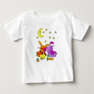 Brown and Purple Rabbit, and a Chicken Snoozing Baby T-Shirt
