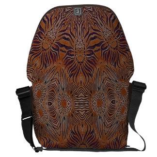 brown and purple wild animal batik messenger bags