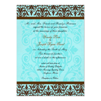 Brown and Robin Egg Blue Wedding Invitations
