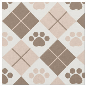 Brown and Tan Argyle Paw Print Pattern Fabric