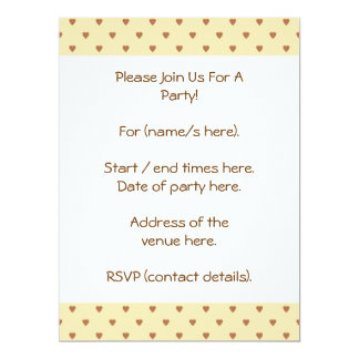 Brown and tan - beige heart pattern. 17 cm x 22 cm invitation card