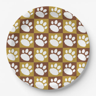 Brown and Tan Checkerboard Paw Print Paper Plate