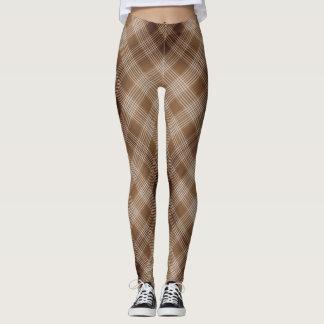 Brown and Tan Checkered Plaid Leggings