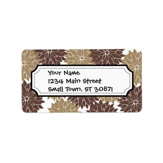 Brown and Tan Flower Blossoms Floral Print Address Label