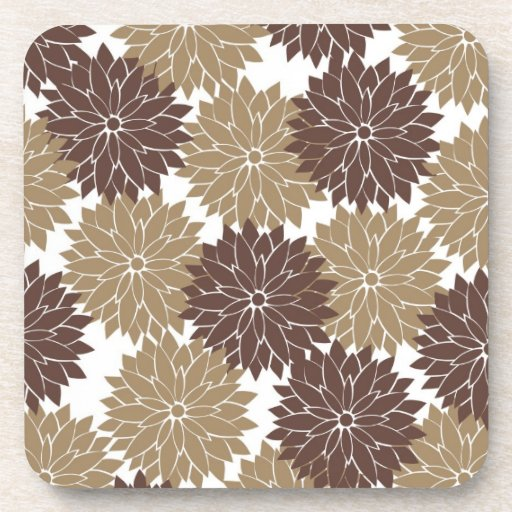 Brown and Tan Flower Blossoms Floral Print Coasters