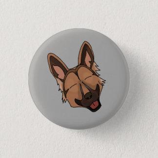 Brown and Tan German Shepherd Dog Smiling 3 Cm Round Badge