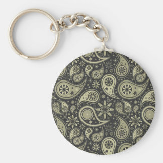 Brown and Tan Paisley Design Pattern Background Key Ring