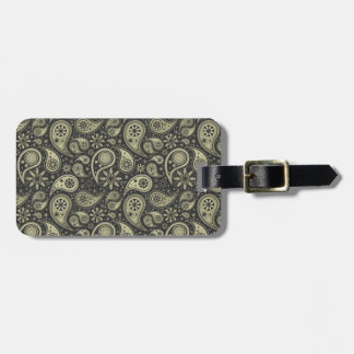 Brown and Tan Paisley Design Pattern Background Luggage Tag