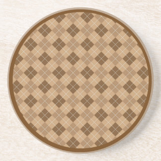 Brown and Tan Retro Argyle Coaster