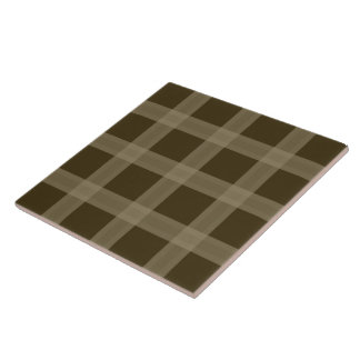 Brown And Taupe Plaid Pattern Ceramic Tile