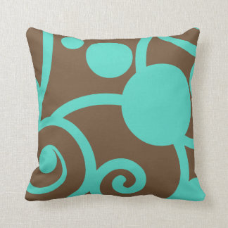 brown and teal blue abstract pattern pillow