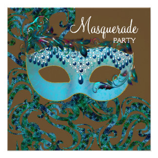 Brown and Teal Blue Masquerade Party Invite