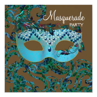 """Brown and Teal Blue Masquerade Party 5.25"""" Square Invitation Card"""