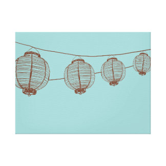 Brown and Teal Japanese Lanterns Canvas Prints