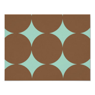 "Brown and Teal Modern Polka Dots Weddin RSVP card 4.25"" X 5.5"" Invitation Card"