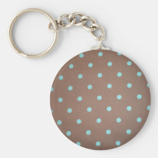 brown and teal polka dot key ring