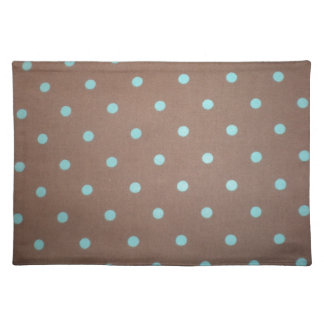 brown and teal polka dot placemat